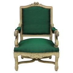 Louis XIV Style Armchair in Emerald Silk