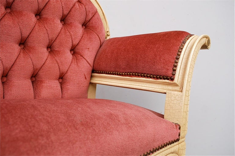French Louis XIV Style Banquette in Dusty Pink, 1950s, France For Sale