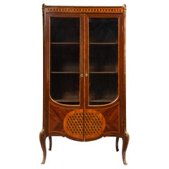 Louis XIV Style Breakfront Vitrine with Tumbling Block Parquetry