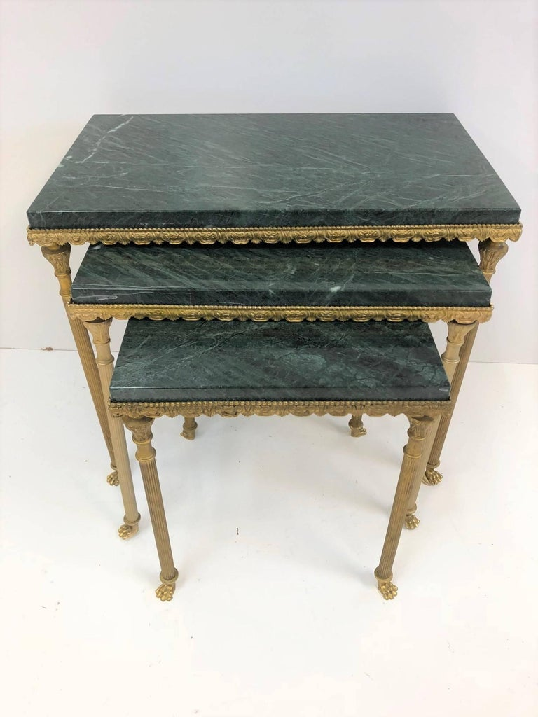 French Louis XIV Style Bronze and Marble Nesting Tables For Sale