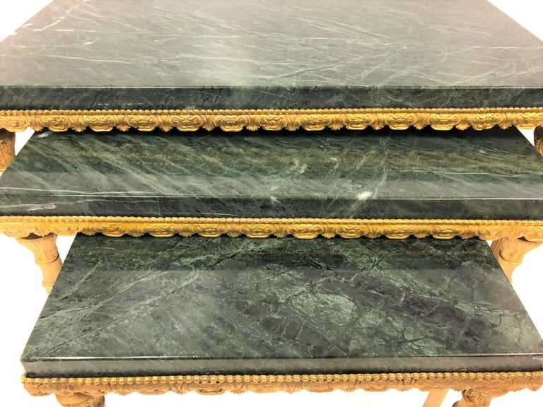 Mid-20th Century Louis XIV Style Bronze and Marble Nesting Tables For Sale