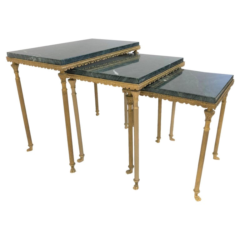 Louis XIV Style Bronze and Marble Nesting Tables For Sale