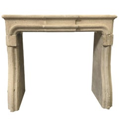 Louis XIV Style Carved Limestone Fireplace Mantel