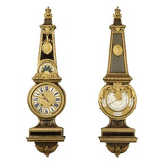 Louis XIV Style Clock and Barometer after André-Charles Boulle. French c 1840