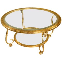 Louis XIV Style Designer Venetian Gilt, Iron, Crystal Scroll Round Coffee Table