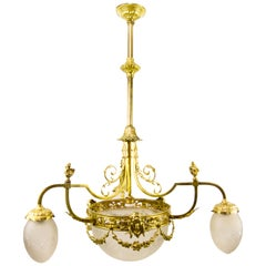 Louis XIV Style Four-Light Gilt Bronze and Frosted Glass Chandelier
