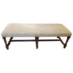 Louis XIV Style French Provincial Long Tan Upholstered Walnut Bench