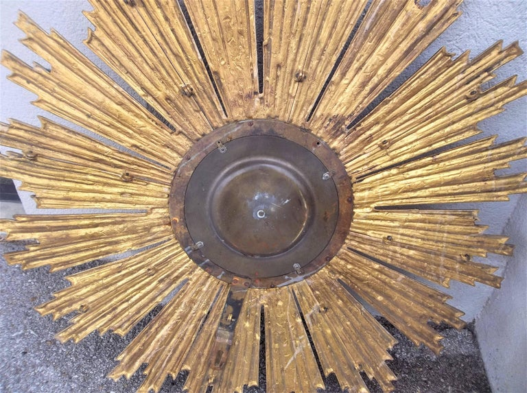 Large Louis XIV Style Gilt Bronze or Ormolu Sunburst with Convex Mirror For Sale 3