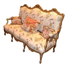 Louis XIV Style Giltwood Settee
