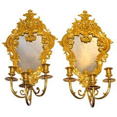 Louis XIV Style Mirrored Sconces, Pair