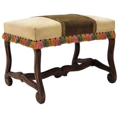 Louis XIV Style Os de Mouton Legs Wood and Leather Stool / Bench, Spain, 1930s