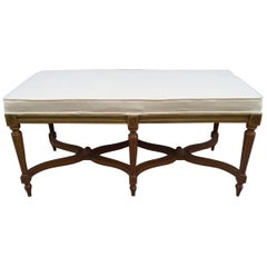 Louis XIV Style Painted Bench