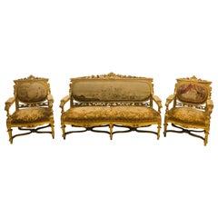Louis XIV Style Parlor Suite / Salon Set Three-Piece Giltwood Aubusson