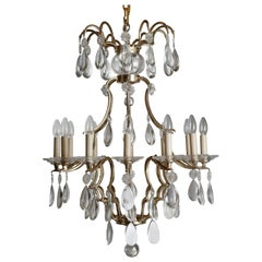 Louis XIV Style Silvered Bronze and Crystal Chandelier