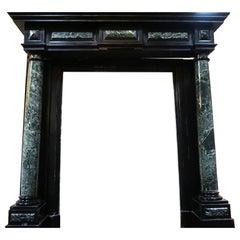 Louis XIV Verde Black Marble Mantel