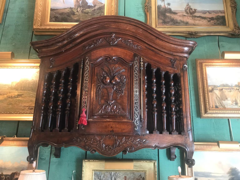 Metal 18th C. Hand Carved Wood Walnut Panetiere Cupboard Wall mount Cabinet Bread Box  For Sale