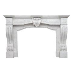 Louis XV Antique White Carrara Marble fireplace