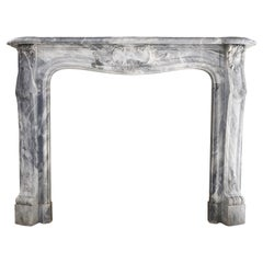 Louis XV Art Nouveau Style Marble Fireplace of Blue Turquin from 1910