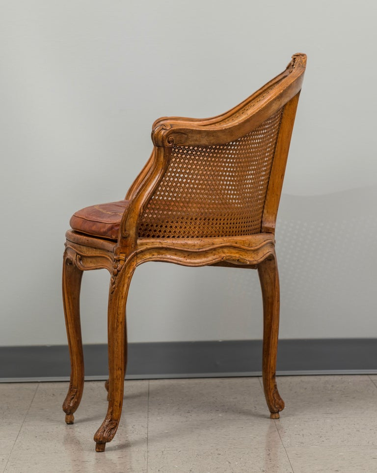 French Louis XV Beechwood and Cane Fauteuil de Bureau For Sale