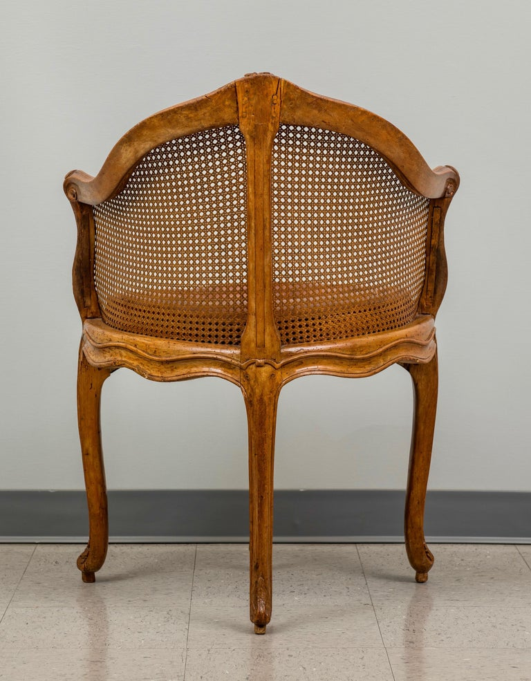 Late 18th Century Louis XV Beechwood and Cane Fauteuil de Bureau For Sale