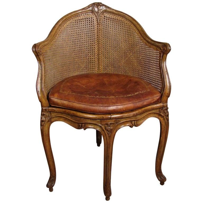 Louis XV Beechwood and Cane Fauteuil de Bureau For Sale