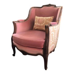 Louis XV Bergère Style Chair 20th Century with Pink Velvet Fabric and Suzani