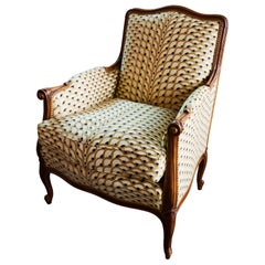 Louis XV Bergère Style Chair with Pierre Frey Fabric and Antique Suzani