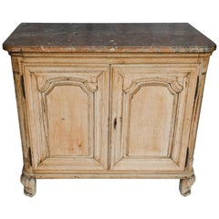 Louis XV Bleached Oak Buffet with Marble Top