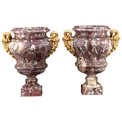 Louis XV Brêche Violette Marble and Ormolu Medusa Urns