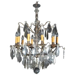 Louis XV Bronze and Crystal Chandelier Baccarat Attributed, France, 19th Century