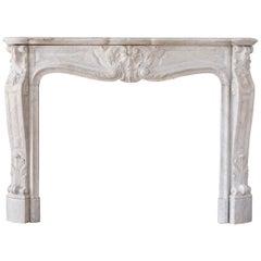 Louis XV Carrara Marble Fireplace