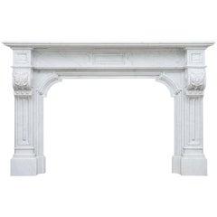 Louis XV Carrara White Marble Antique Fireplace