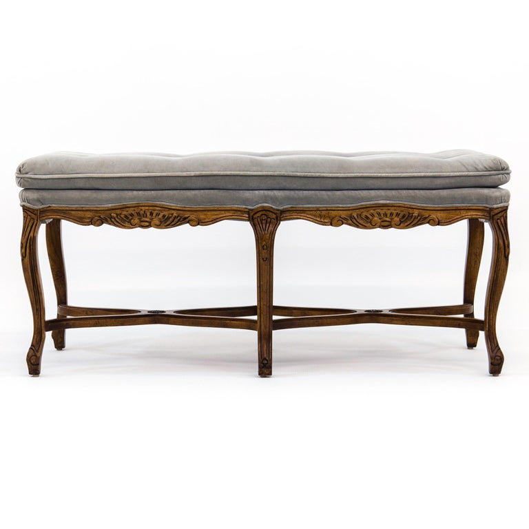 Louis XV Carved Walnut Bench with Gray Tufted Velvet Upholstery by Bernhardt For Sale 2