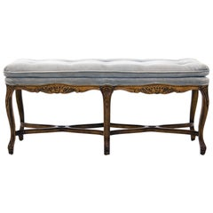 Louis XV Carved Walnut Bench with Gray Tufted Velvet Upholstery by Bernhardt