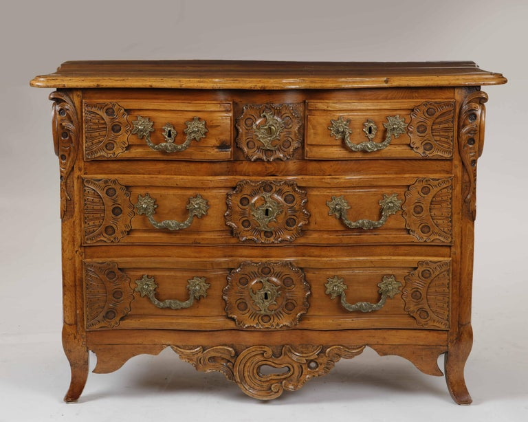 French Louis XV Carved Walnut Commode, 18th Century For Sale
