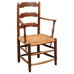 Louis XV Cherry Armchair with Ladder Back & Rush Seat, France