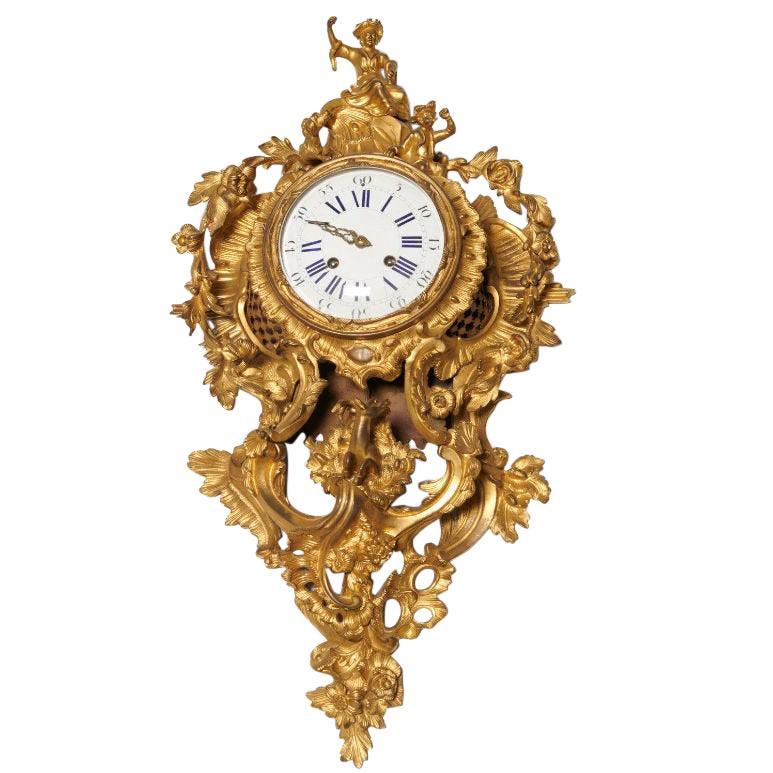 Louis XV Chinoiserie Style Gilt Bronze Cartel Clock by Raingo Freres