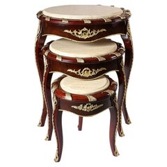 Louis XV Circular Marble Nesting Coffee Table Set '3 Tables', 20th Century
