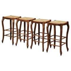 Louis XV Country French Carved Bar Stools with Rush Seat, Set of 4