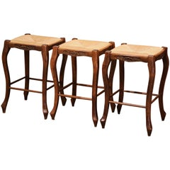 Louis XV Country French Carved Counter Stools with Rush Seat, Set of Three