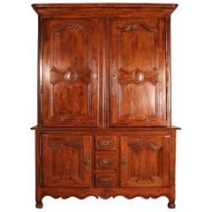 Louis XV Deux Corps/ Buffet/Cupboard in Oak from the 18th Century, Picardie