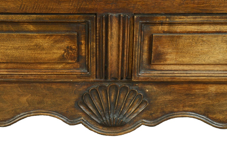 Mid-18th Century Louis XV Dome Top Walnut Armoire with Star Carved Crest, circa 1750 For Sale