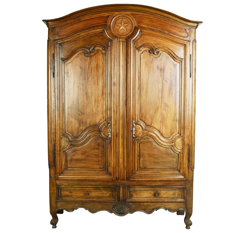 Louis XV Dome Top Walnut Armoire with Star Carved Crest, circa 1750 For Sale
