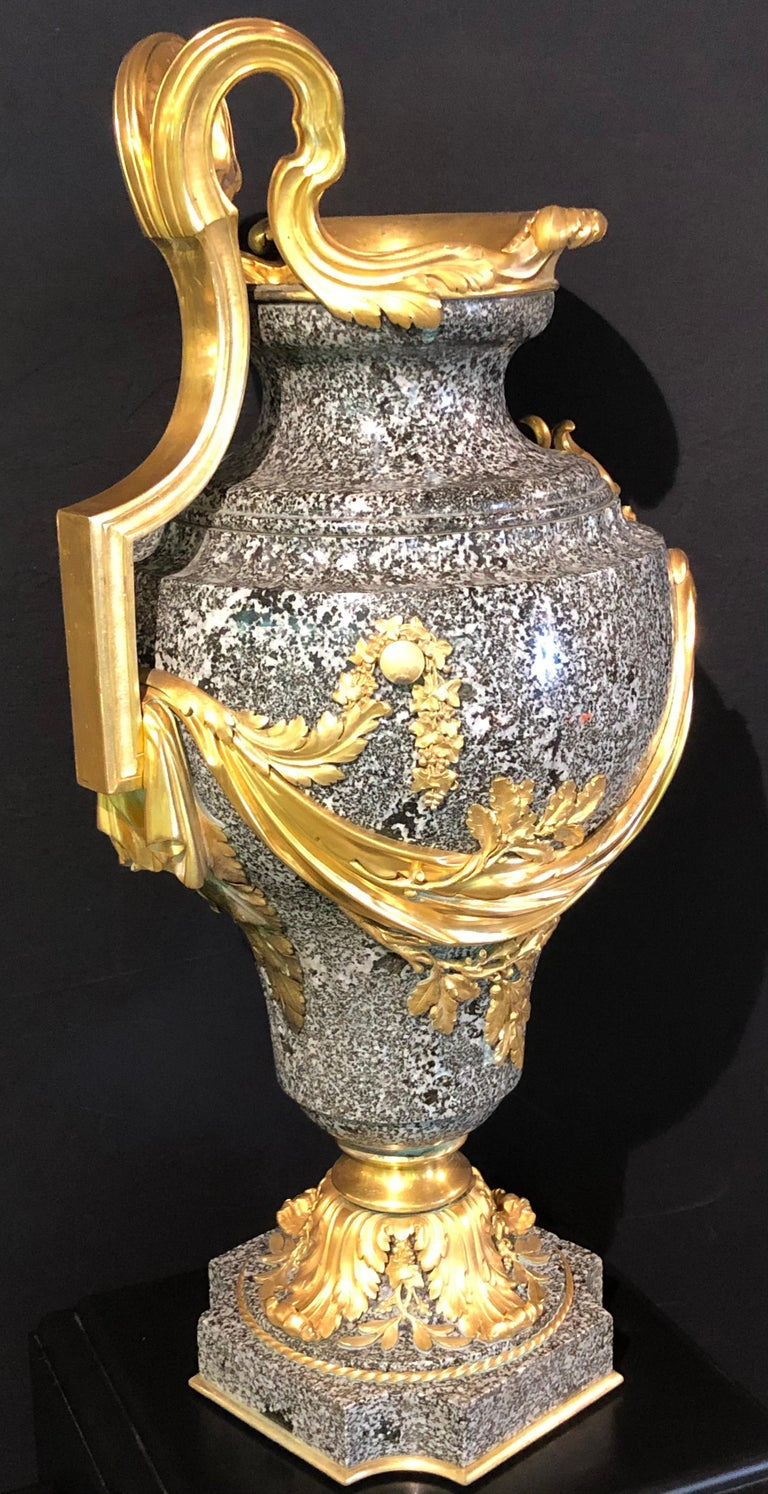 Louis XVI Louis XV Dore Bronze Mounted Ewer / Urn, 19th Century Granite For Sale