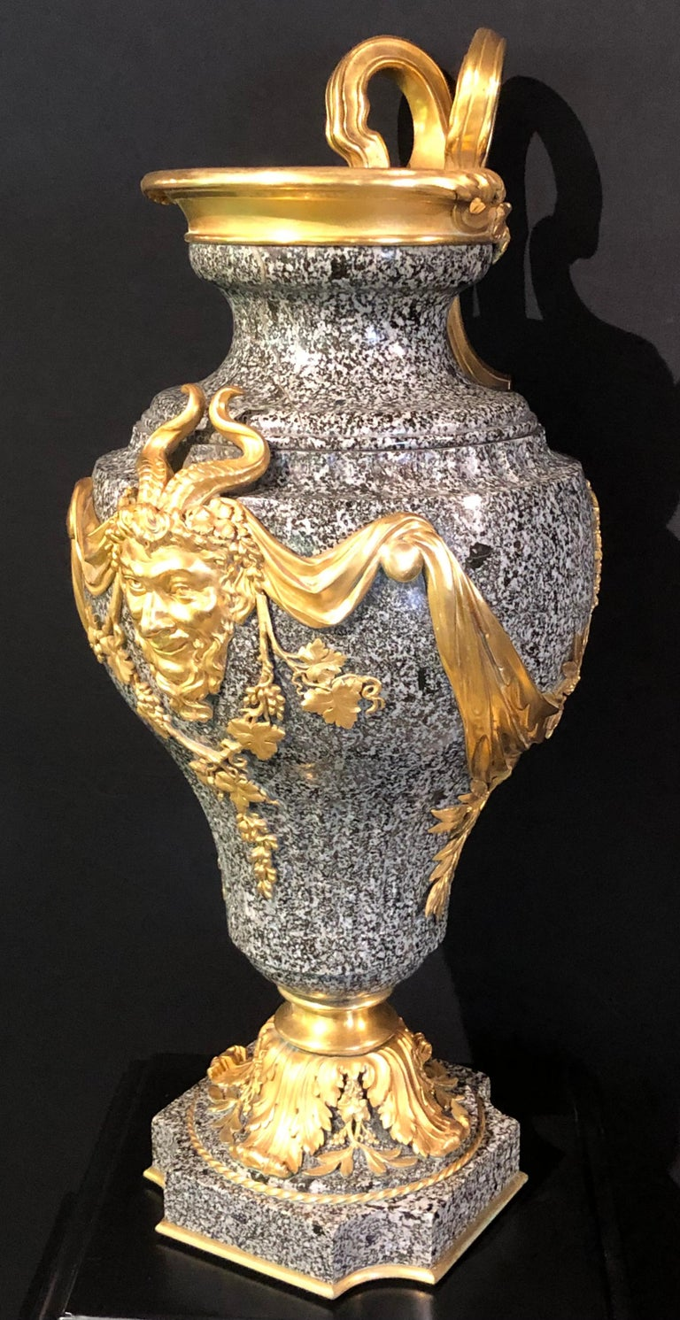 French Louis XV Dore Bronze Mounted Ewer / Urn, 19th Century Granite For Sale