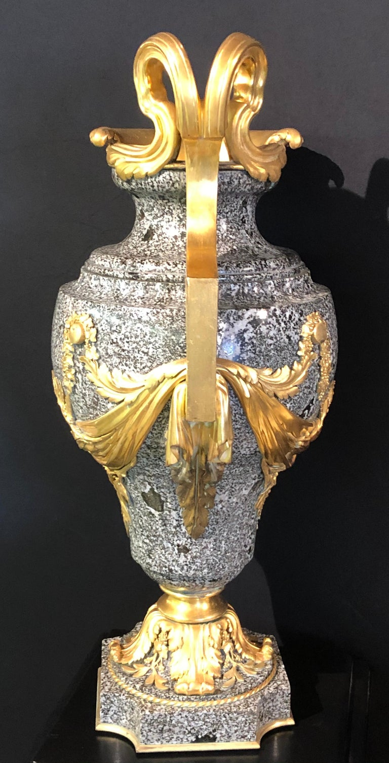 Gilt Louis XV Dore Bronze Mounted Ewer / Urn, 19th Century Granite For Sale