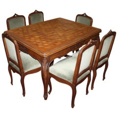 Louis XV Extendable Parquet Dining Table with Six Chairs, circa 1890