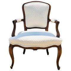 Louis XV Fauteuil of Fruitwood Dressed in Greek Key Linen