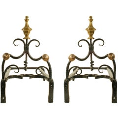 Louis XV Forged Iron and Cast Brass Andirons, Mid-18th Century