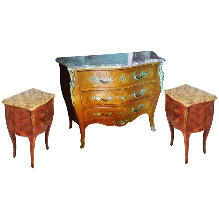 Louis XV French Bedroom Set, Commode and Nightstand Tables